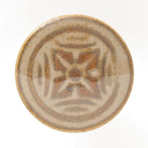 Knopf 4er Blüte rund, hellbraun, Ø 2,5 cm