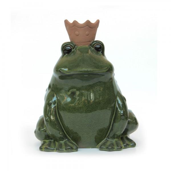 Froschkönig, aus Keramik, grün, H 28 cm