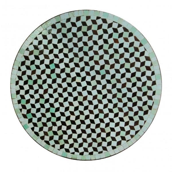 Mosaiktisch rund, türkis, braun, Ø 60 cm