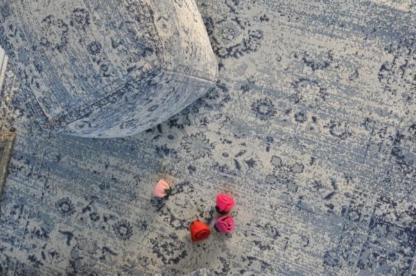 Teppich 'Yuva', cremeweiß, blautöne, T 140 cm, B 200 cm