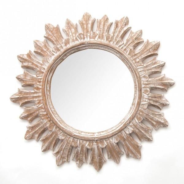 """Spiegel """"Sonne"""", braun/weiß, Ø 67 cm"""
