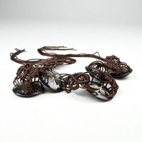 Baumwollgürtel mit Kunstharzmuschel, L 160 cm, B 6,5 cm