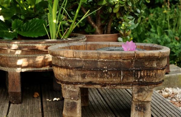 alter Fußbad-Bottich mit Füßen, natur, T 48 cm, B 33 cm, H 31 cm