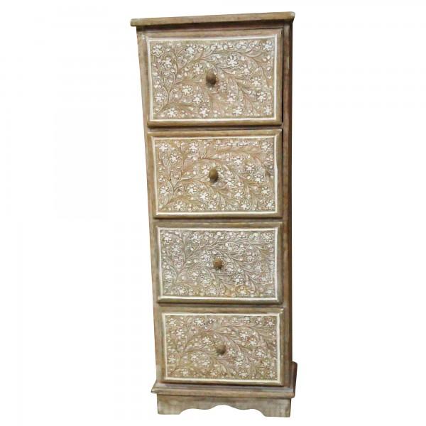 Schränkchen mit 4 Schubladen, braun/weiß, L 15 cm, B 25 cm, H 66 cm