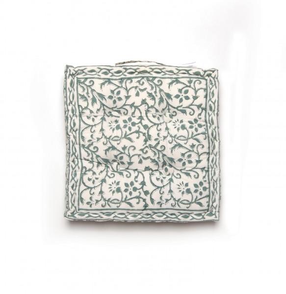 Sitzkissen 'Faiza', grün, weiß, L 50 cm, B 50 cm, H 8 cm