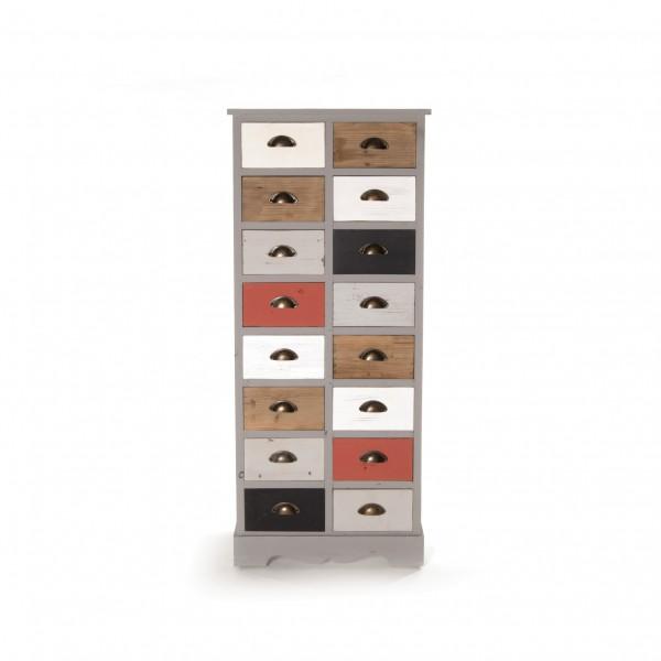"""Schubladenschrank """"Jeannette"""" mit 16 Schubladen, multicolor, T 33 cm, B 57 cm, H 137 c"""