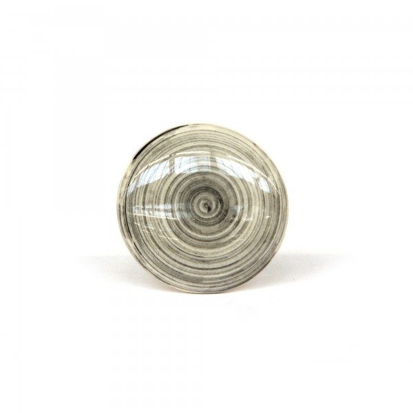 Knopf 'Strudel', schwarz, beige, T 4 cm, B 4 cm, H 2,5 cm