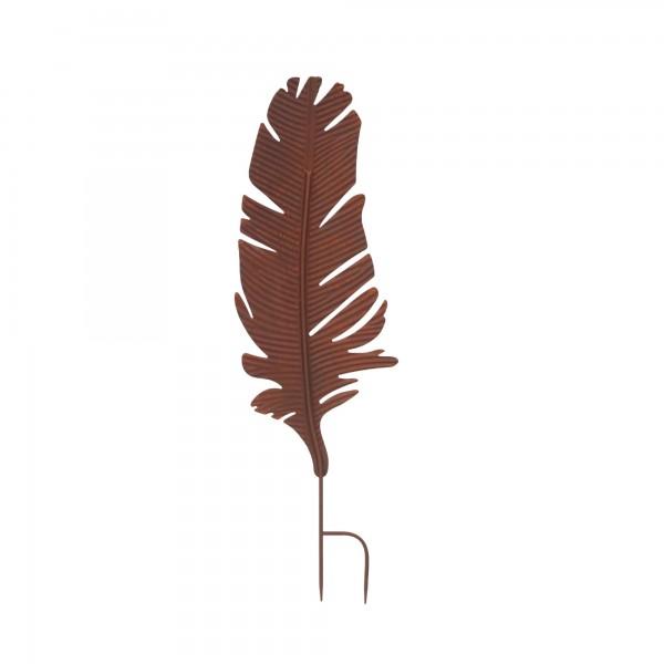 Gartenstecker 'Feder', rostbraun, T 2 cm, B 26 cm, H 85 cm