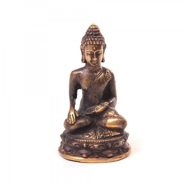 Buddha sitzend, aus Bronze, B 5,5 cm, H 10 cm