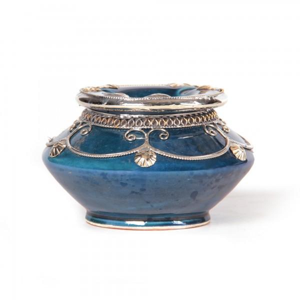 Aschenbecher mit Metallverzierung, blau, Ø 14 cm, H 6 cm