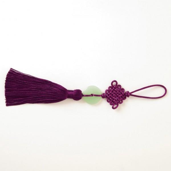 Troddeln mit Naturstein, lila, L 19 cm