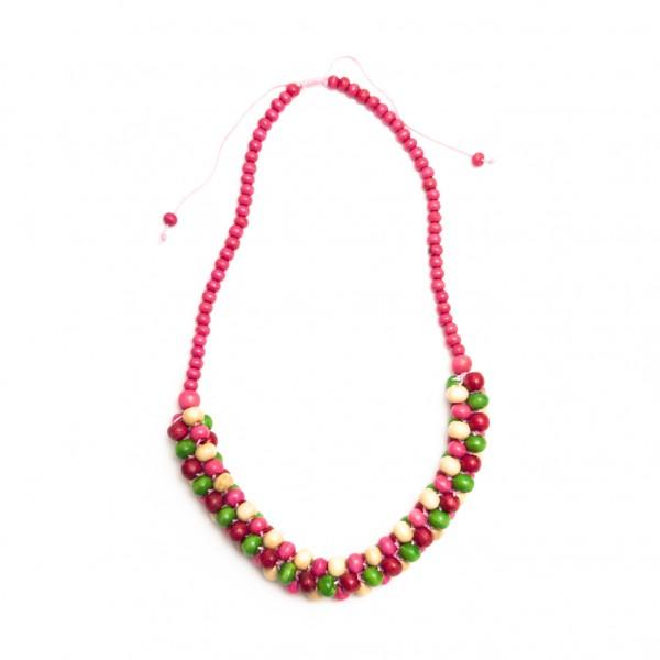 Halskette mit Holzkugeln, grün/pink