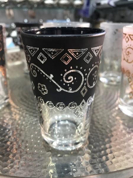 Teeglas, silber, schwarz, Ø 5 cm, H 9 cm