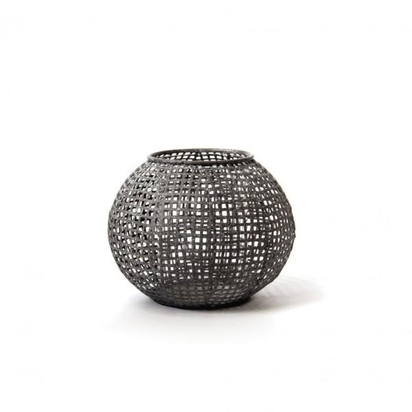 "Laterne ""Buderim"" aus Metall, antik-grau, Ø 15 cm, H 11 cm"