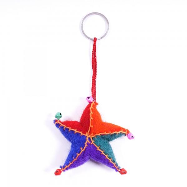 """Schlüsselanhänger """"Stern"""", aus 100% Schafswolle, multicolor"""