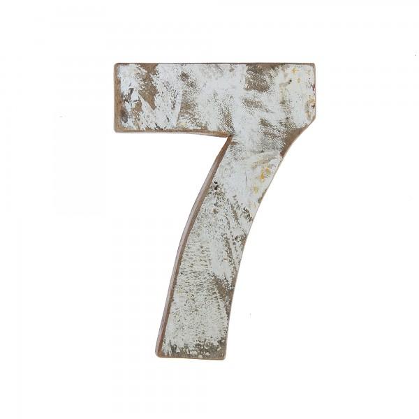 Holzziffer '7', multicolor, T 19 cm, B 13 cm, H 2 cm
