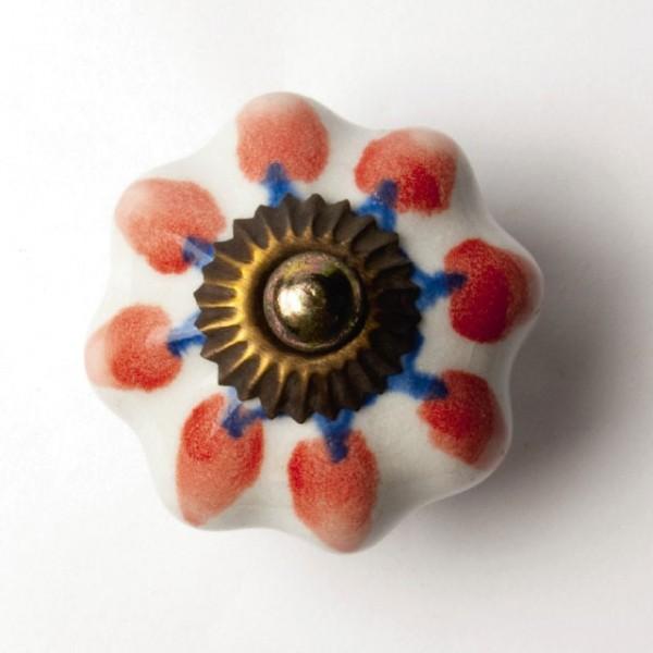 "Türknauf ""Blume"", weiß/rot, Ø 4,5 cm"