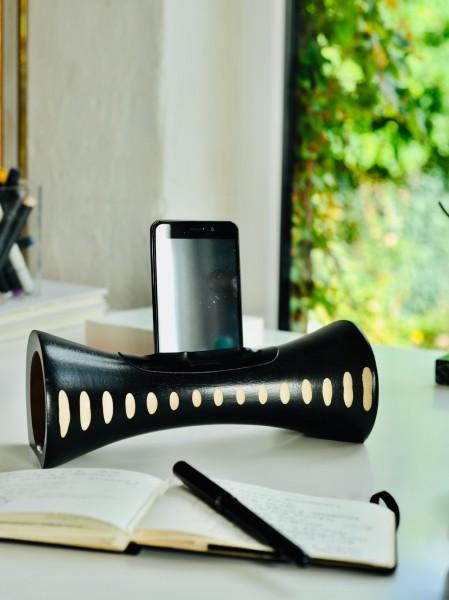 Smartphone-Verstärker, schwarz, Ø 10 cm, B 25 cm