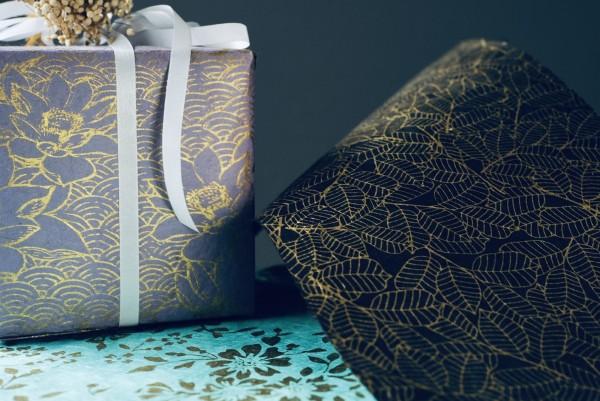 Geschenkpapier 'Golden Leaves', handgeschöpft, L 51 cm, B 76 cm