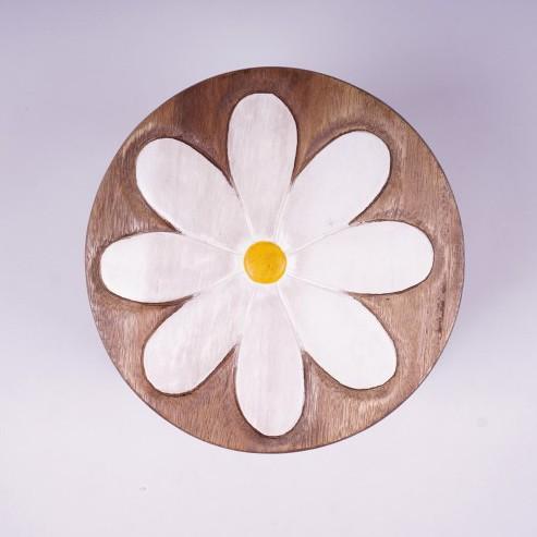 Kinderhocker 'Blume', braun/weiß, H 25 cm, Ø 25 cm