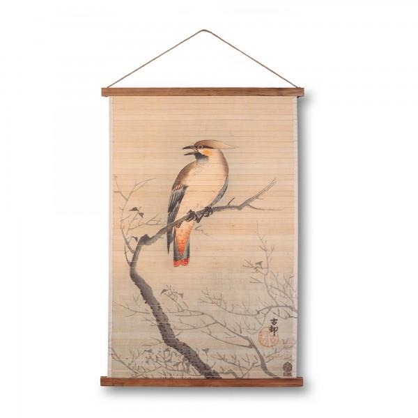 Rollbild Bambus 'Herbstvogel', multicolor, T 2 cm, B 64 cm, H 92 cm