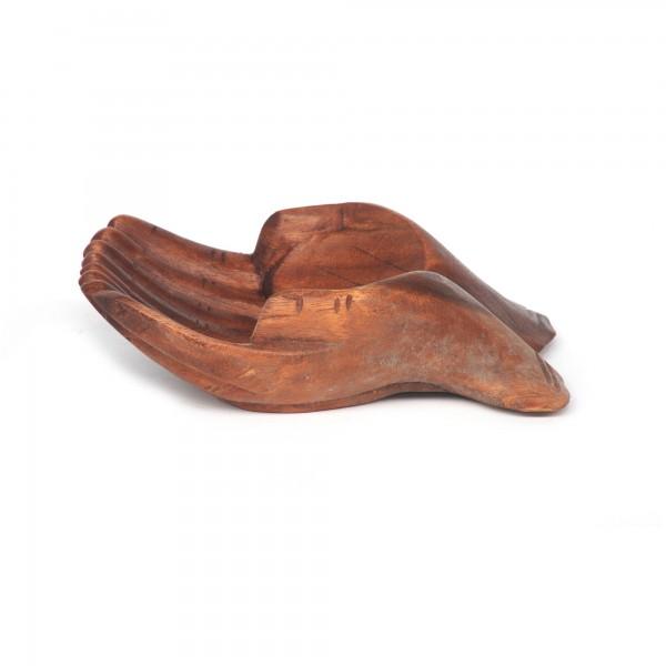 Holzschale Hände klein, natur, T 16 cm, B 12 cm, H 6 cm