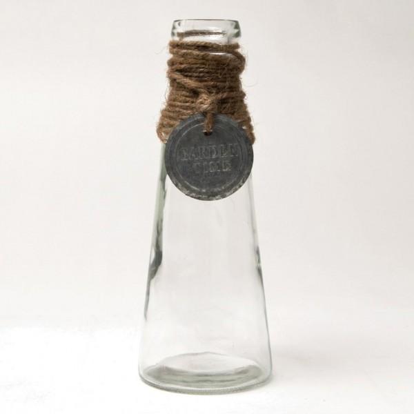 Dekoflasche mit Kordel und Emblem, klar, H 22 cm, Ø 8 cm