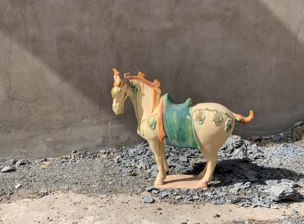 Keramikpferd 'Tang Dynastie', gelb, grün, T 45 cm, B 16 cm, H 45 cm