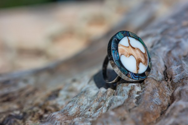 Ring Muschel, natur, T 2,5 cm, B 2,5 cm, H 3 cm