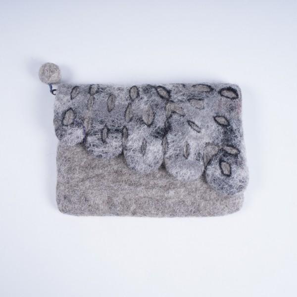 """Handgefilzte Geldbörse """"Blatt"""", grau, B 16 cm, H 13 cm"""