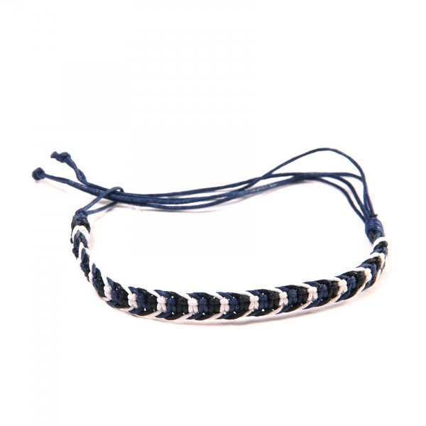 Armband 'Raphael', aus Baumwolle, blau, schwarz, weiß