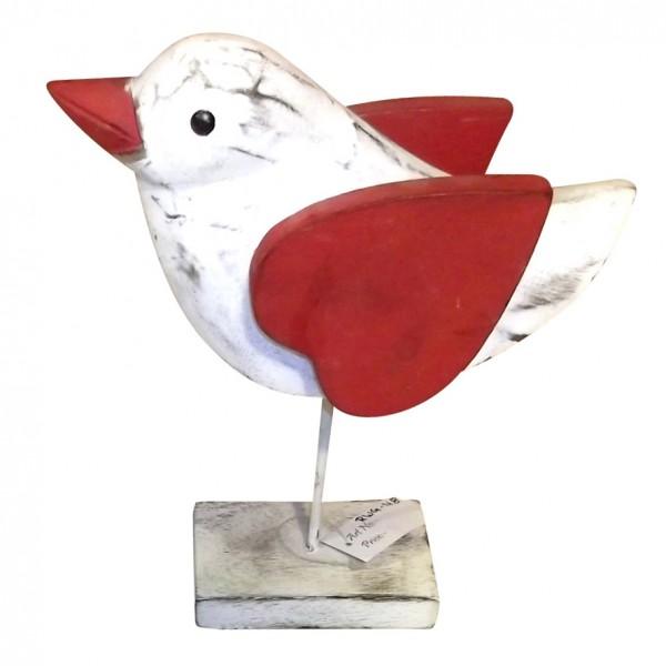 "Holz-Vogel ""Spatz"", weiß/rot, L 22 cm, B 7 cm, H 26 cm"