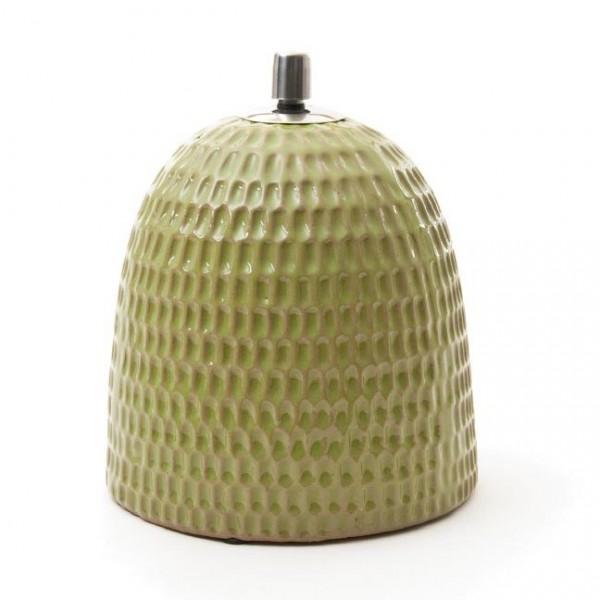 Keramikfackel mit Edelstahlaufsatz, hellgrün, H 24 cm, Ø 20 cm