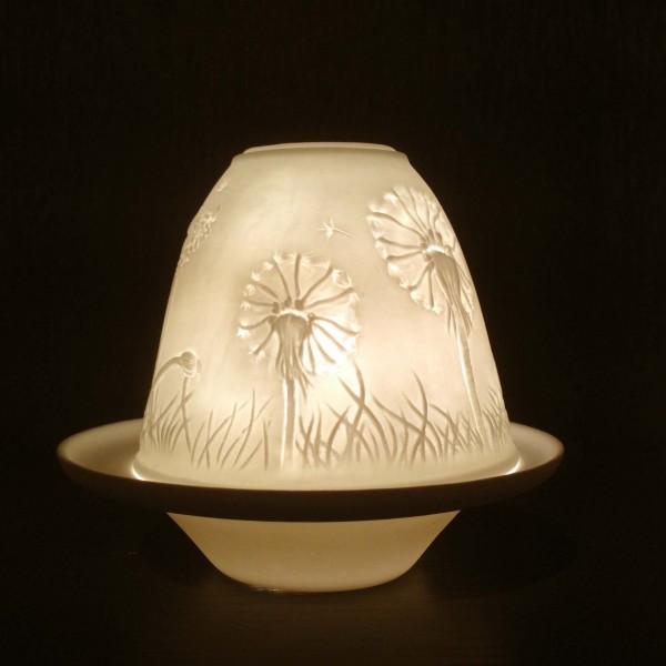 """Windlicht """"Löwenzahn"""" aus Porzellan, Ø 10 cm, H 9 cm"""