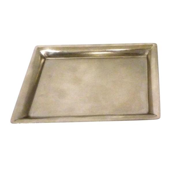 Teller eckig, vernickelt, silber, L 11,5 cm, B 16,5 cm, H 2 cm