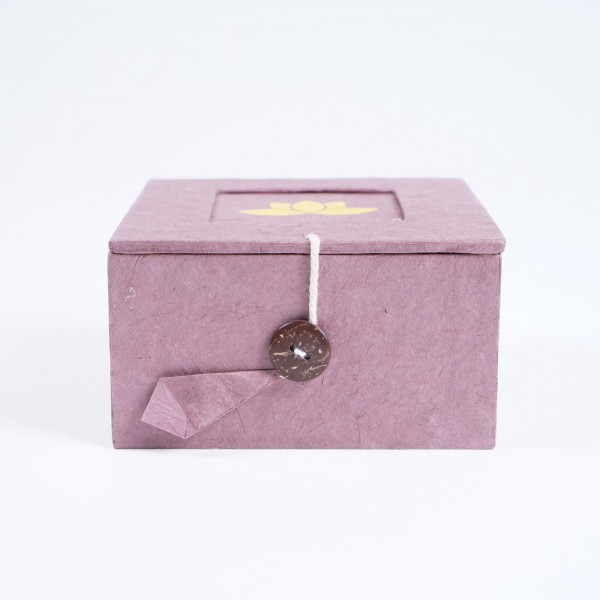 Lotusbox aus Loktapapier, pink, L 11 cm, B 11 cm, H 5,5 cm