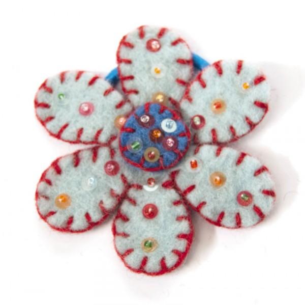 """Haarband """"Sitarablume"""", hellblau, Ø 8 cm"""