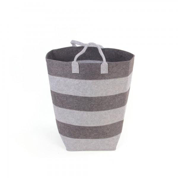 Wäschekorb S, aus Filz, grau, Ø 24 cm, H 48 cm
