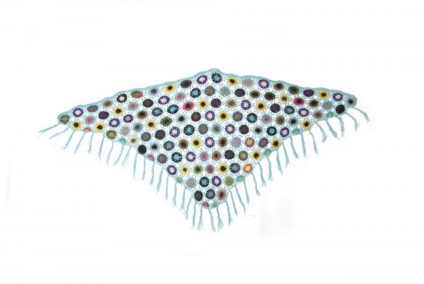 Dreieckiges Häkeltuch, türkis/multicolor, L 165 cm, B 85 cm