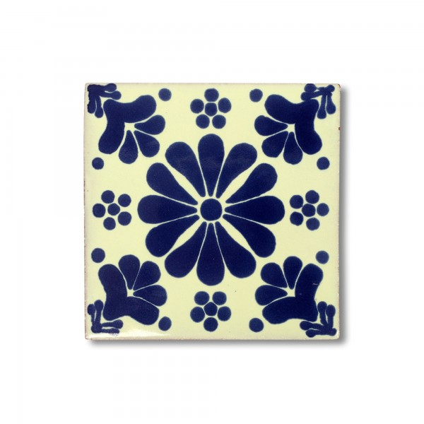Kachel 'Buenavista', blau, weiß, T 10 cm, B 10 cm, H 0,5 cm