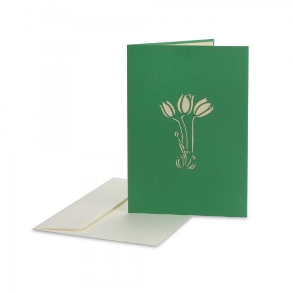 Pop Up Karte 'Schmetterlinge auf Blüten', rot, grün, T 18 cm, B 13 cm