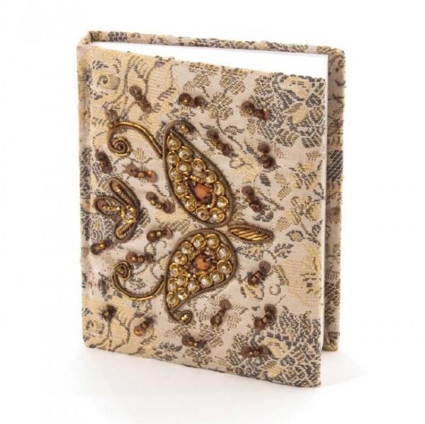 Tagebuch handbestickt und mit Glasperlen verziert, grau, B 8,5 cm, H 11 cm