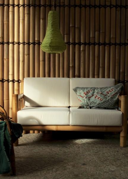 Bambus-Couch 'Chendra' 2-Sitzer mit weißen Polstern, natur, weiß, T 75 cm, B 135 cm, H 75 cm