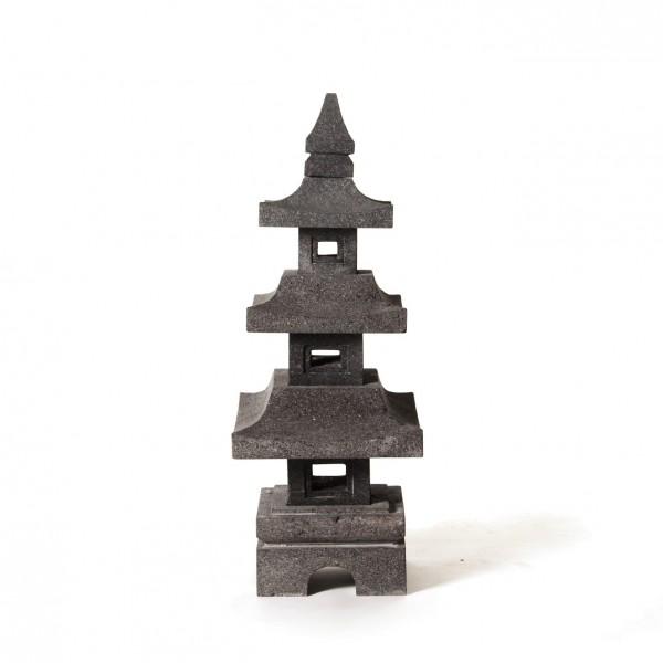 Tempelleuchte aus Lavastein, H 80 cm