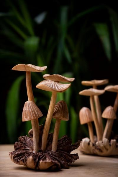 "handgeschnitzter ""Pfifferling"" aus Holz, natur, B 13 cm, H 15 cm"