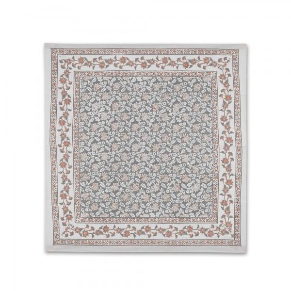 Tischdecke floral, grau, beige, L 100 cm, B 100 cm
