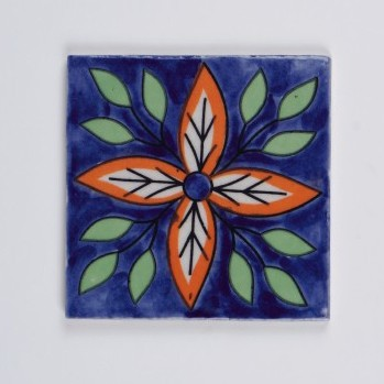 Handbemalter Keramikuntersetzer, orange/blau, L 10 cm, B 10 cm