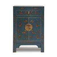 Kommode 'Schmetterling', 1 Schublade, 2 Türen, hoch, blau, T 37 cm, B 58 cm, H 85 cm