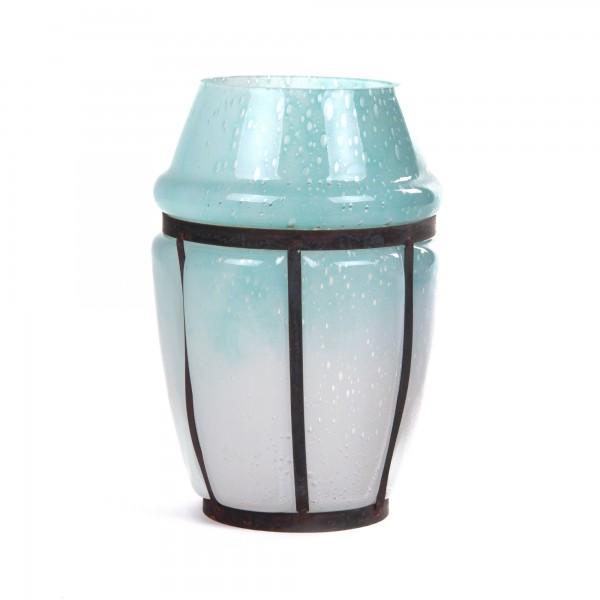 Glasvase, azurblau, Ø 18 cm, H 26 cm