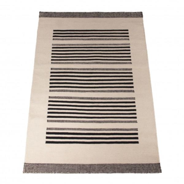 """Teppich """"Tamim"""", handgewebt, schwarz/weiß, L 200 cm, B 140 cm"""